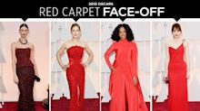 Oscars Red Carpet Face-Off: Red Dresses on Rosamund Pike, Dakota Johnson & More