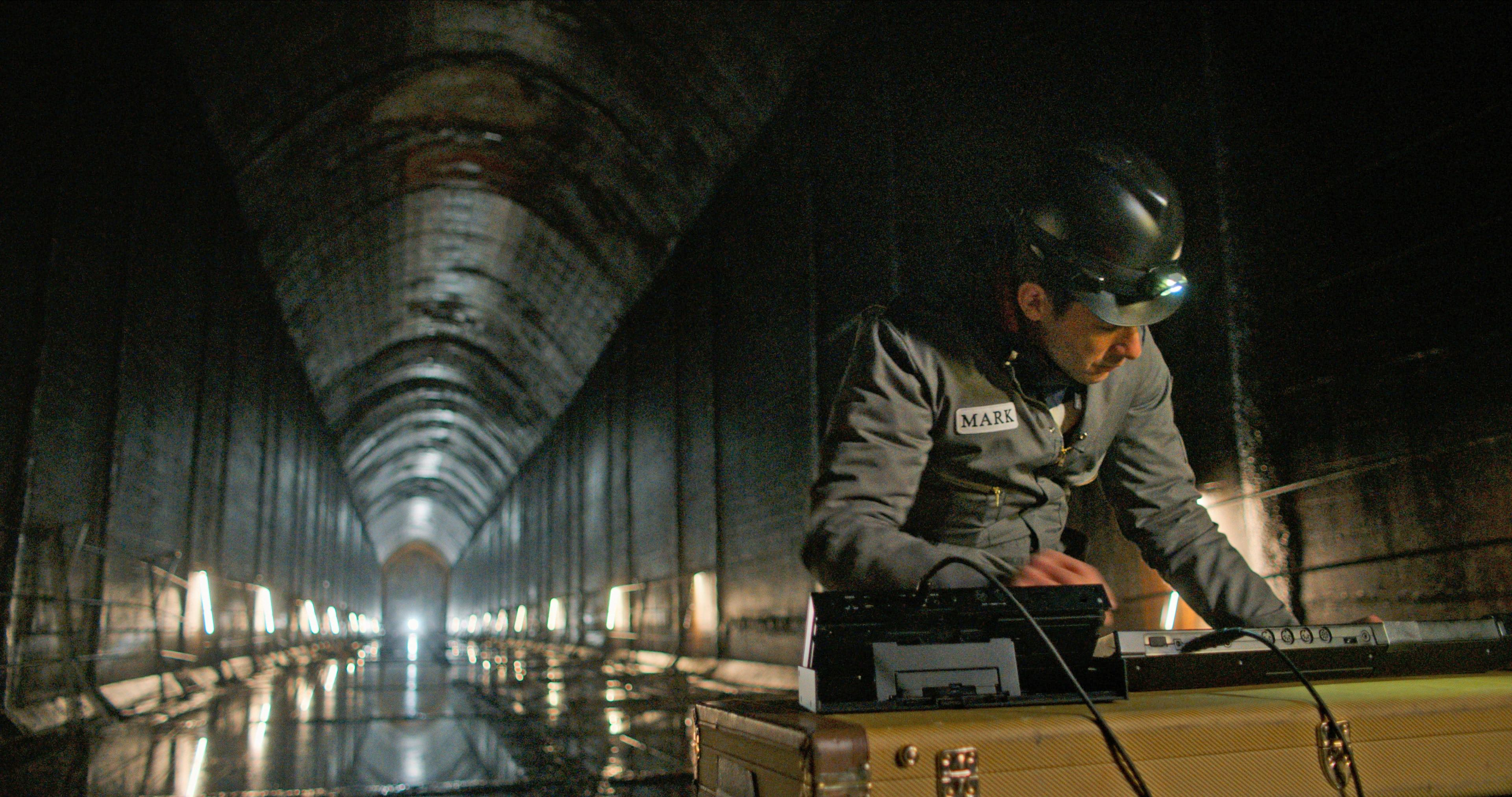 Watch the Sound TV show advertised with this image of Mark Ronson making music in a tunnel.