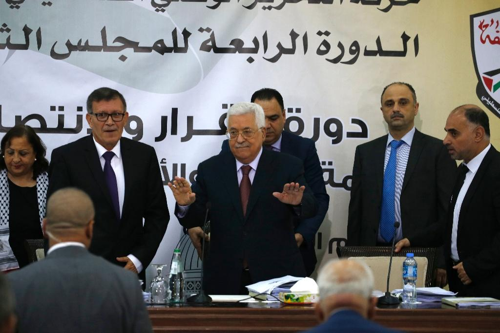 Palestinian Authority president Mahmud Abbas attends a meeting with the Revolutionary Council of the ruling Fatah party in the West Bank city of Ramallah (AFP Photo/ABBAS MOMANI)