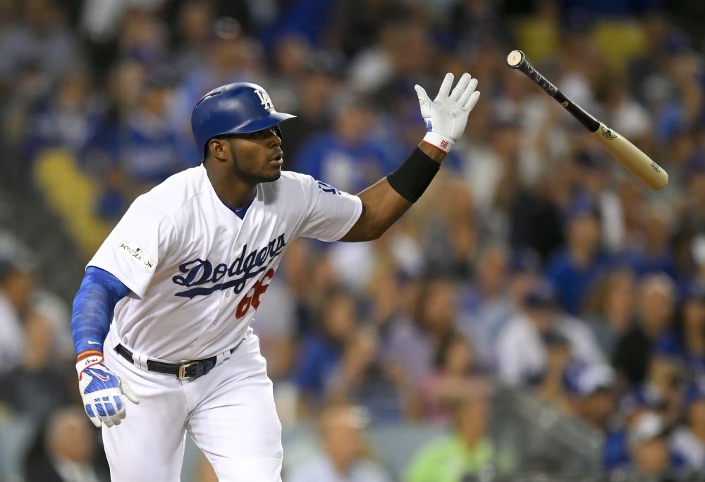 Yasiel Puig capped a Dodgers four-run first inning with a double and a series of crotch chops. (AP)
