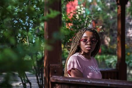 Khemasia Pierce poses in New York