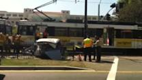 At least 21 hurt when train hits car in Los Angeles