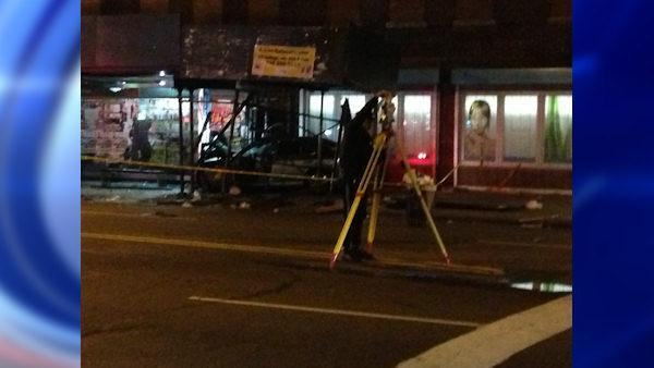 12 people are hurt when a car careens onto a Brooklyn sidewalk