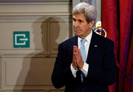 U.S. Secretary of State Kerry reacts after delivering a speech on the transatlantic relationship in Brussels