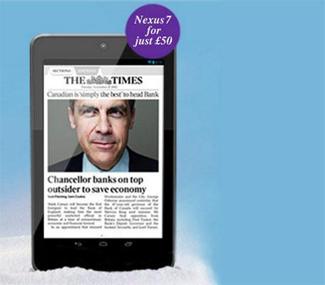 The Times UK offers digital newspaper subscriptions with subsidized Nexus 7