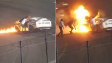 Hero dad risks life to save son from burning car