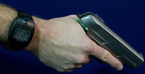 Armatix pistol / wristwatch combo tells time... to stay put