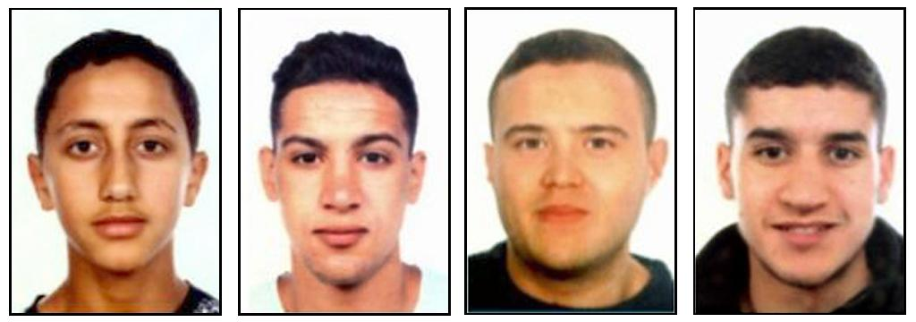Four suspects of the Barcelona and Cambrils attacks, (from left) Moussa Oukabir, Said Aallaa, Mohamed Hychami and Younes Abouyaaqoub (AFP Photo/-)