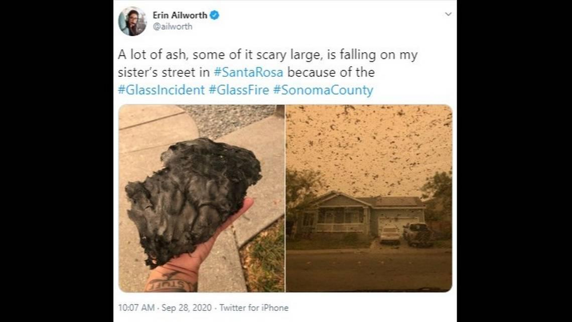 Chunks of ash so big you can hear them land hit the Bay Area as California fires rage