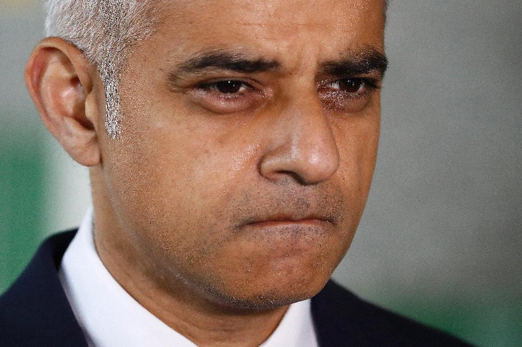 London Mayor Sadiq Khan leaves after observing a minute's silence for victims of a terror attack in the British capital, on June 6, 2017