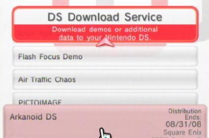 New Nintendo Channel DS demos feature Arkanoid