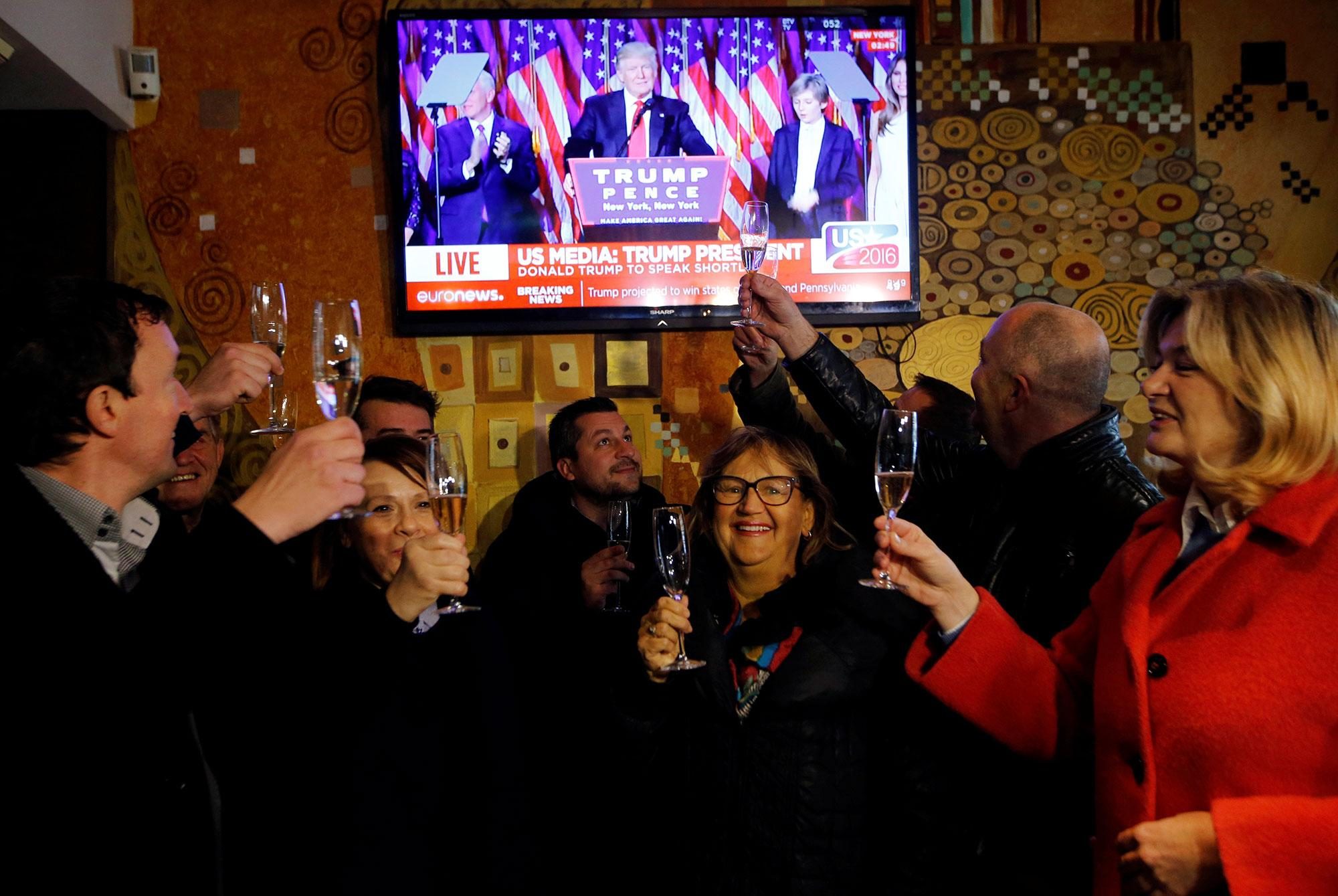 <p>Residents celebrate during the U.S. presidential election in Melania Trump's hometown of Sevnica, Slovenia on Nov. 9, 2016. (Photo: /Srdjan Zivulovic/Reuters) </p>