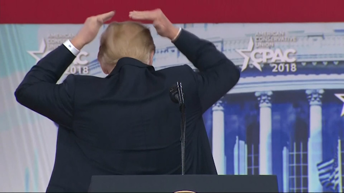 'Oh boy:' Donald Trump jokes about trying to hide his bald spot