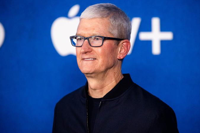 """WEST HOLLYWOOD, CALIFORNIA - JULY 15: Apple CEO Tim Cook attends Apple's """"Ted Lasso"""" season two premiere at Pacific Design Center on July 15, 2021 in West Hollywood, California. (Photo by Emma McIntyre/WireImage)"""