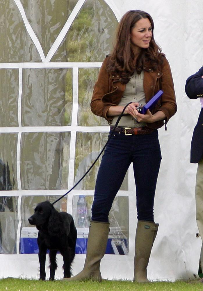 Kate wore wellies to a polo match, with casual jeans and her pooch Lupo by her side.