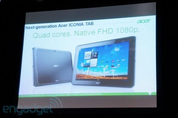 Acer's next-gen, quad-core Iconia Tab introduced at CES 2012 with a 1080p display