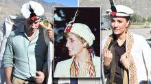 The Duke and Duchess of Cambridge don traditional Chitrali hats – just like Princess Diana