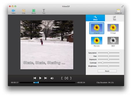 VideoGIF creates animated GIFs from your favorite home videos