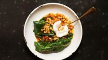 Chickpeas, swiss chard and soft-poached egg by Florence Knight