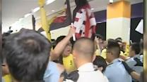 Raw: Protesters Disrupt Speech in Hong Kong