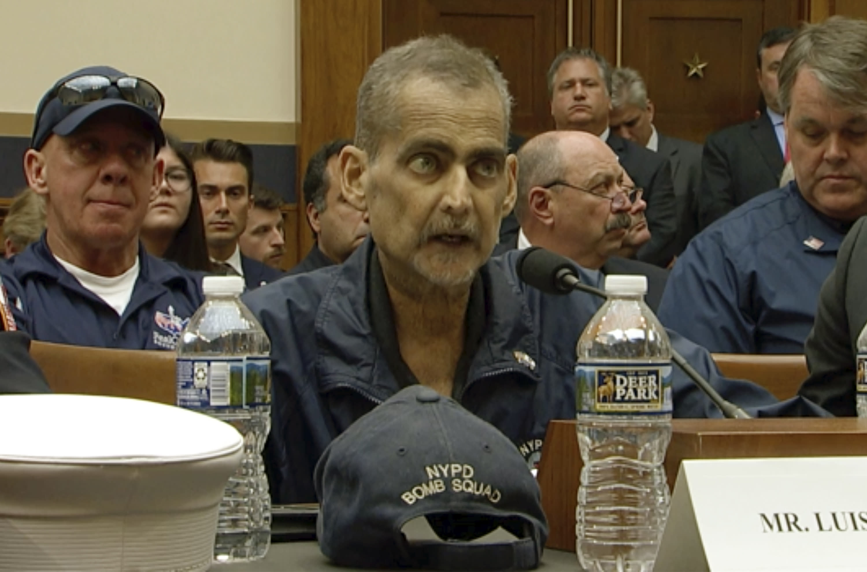 This still image taken from video shows Retired NYPD Detective and 9/11 Responder Luis Alvarez speaks during a hearing by the House Judiciary Committee as it considers permanent authorization of the Victim Compensation Fund on Capitol Hill in Washington