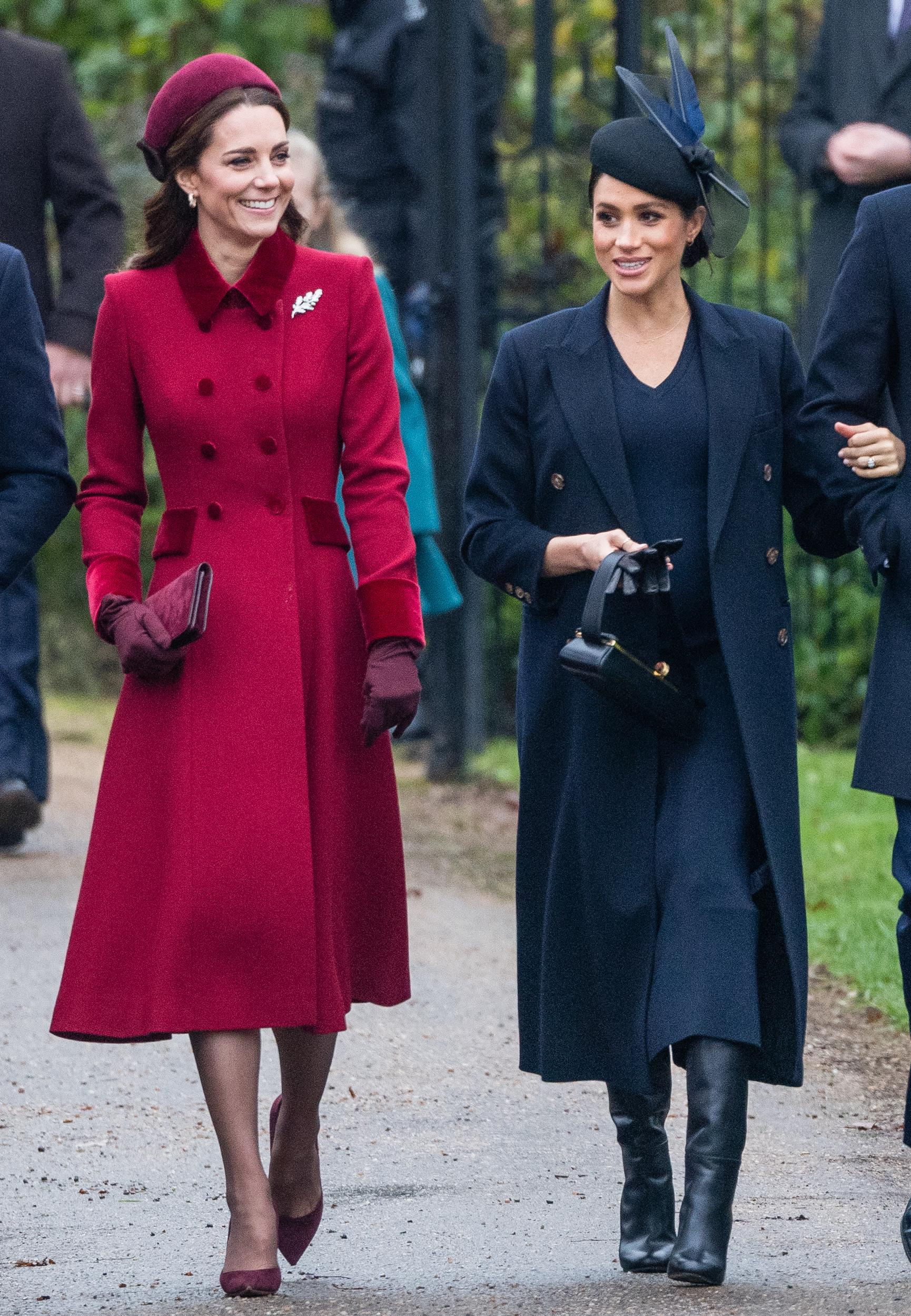 KING'S LYNN, ENGLAND - DECEMBER 25: Catherine, Duchess of Cambridge and Meghan, Duchess of Sussex attend Christmas Day Church service at Church of St Mary Magdalene on the Sandringham estate on December 25, 2018 in King's Lynn, England. (Photo by Samir Hussein/Samir Hussein/WireImage)