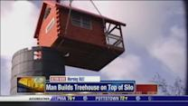Tree house built on top of corn silo