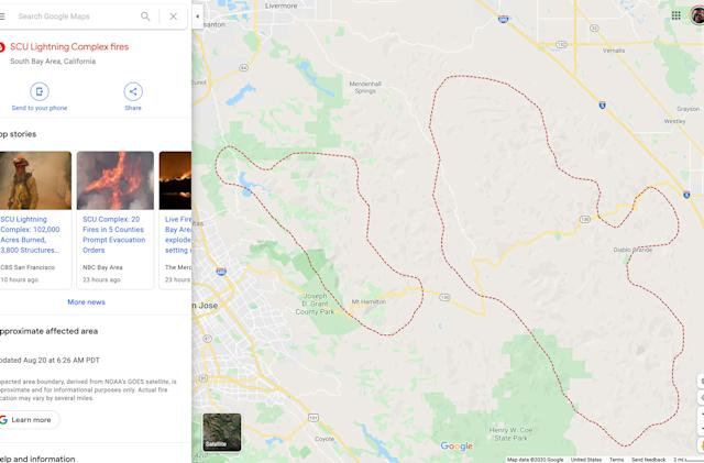 Google Maps is tracking the spread of America's wildfires hour by hour