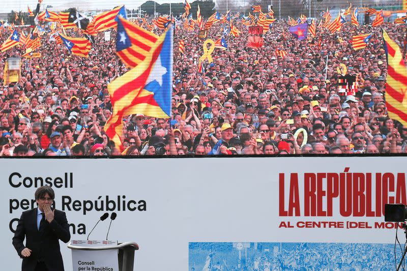Catalan separatist leader Carles Puigdemont holds a rally in Perpignan