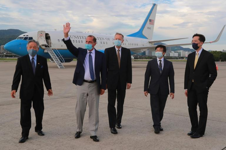 Health Secretary Alex Azar (2nd L) is the highest ranking US official to visit Taiwan since 1979 when Washington switched recognition to Beijing