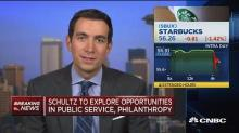Starbucks sinking after Executive Chairman Howard Schultz...