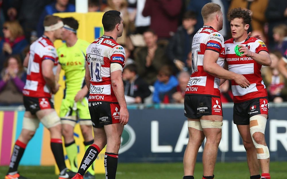 Billy Burns of Gloucester Rugby and his team mates celebrate victory - Getty Images Europe