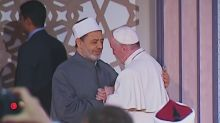 Pope Francis urges imams to preach tolerance