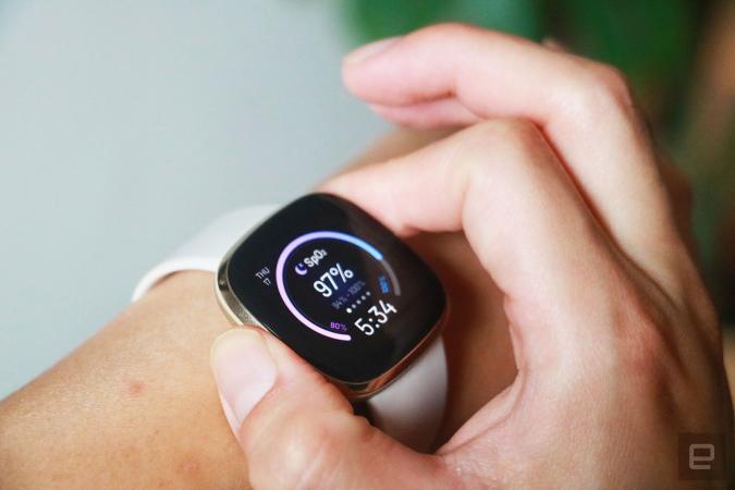 Fitbit Sense smartwatch measuring blood oxygen levels
