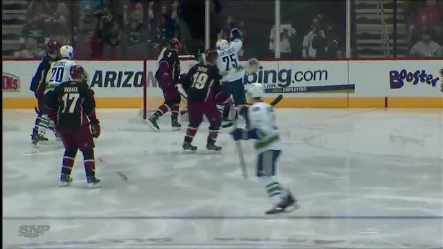 Dan Hamhuis scores on a screen