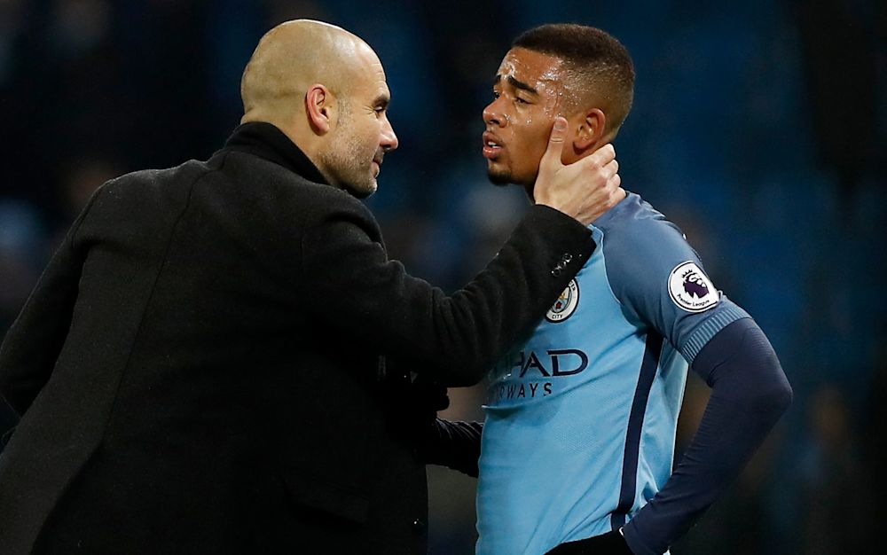 Pep Guardiola (left), the Manchester United manager, has said Gabriel Jesus will travel to Wembley Stadium on Sunday though is unlikely to feature from the start - PA Wire