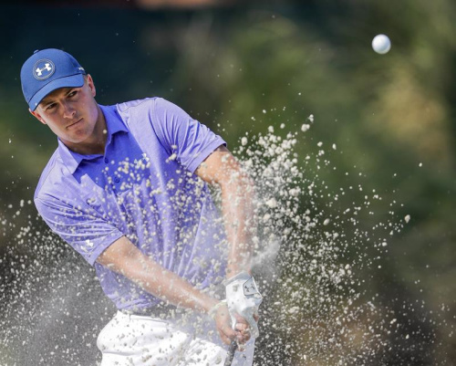 Jordan Spieth took issue with the condition of one trap on Thursday.
