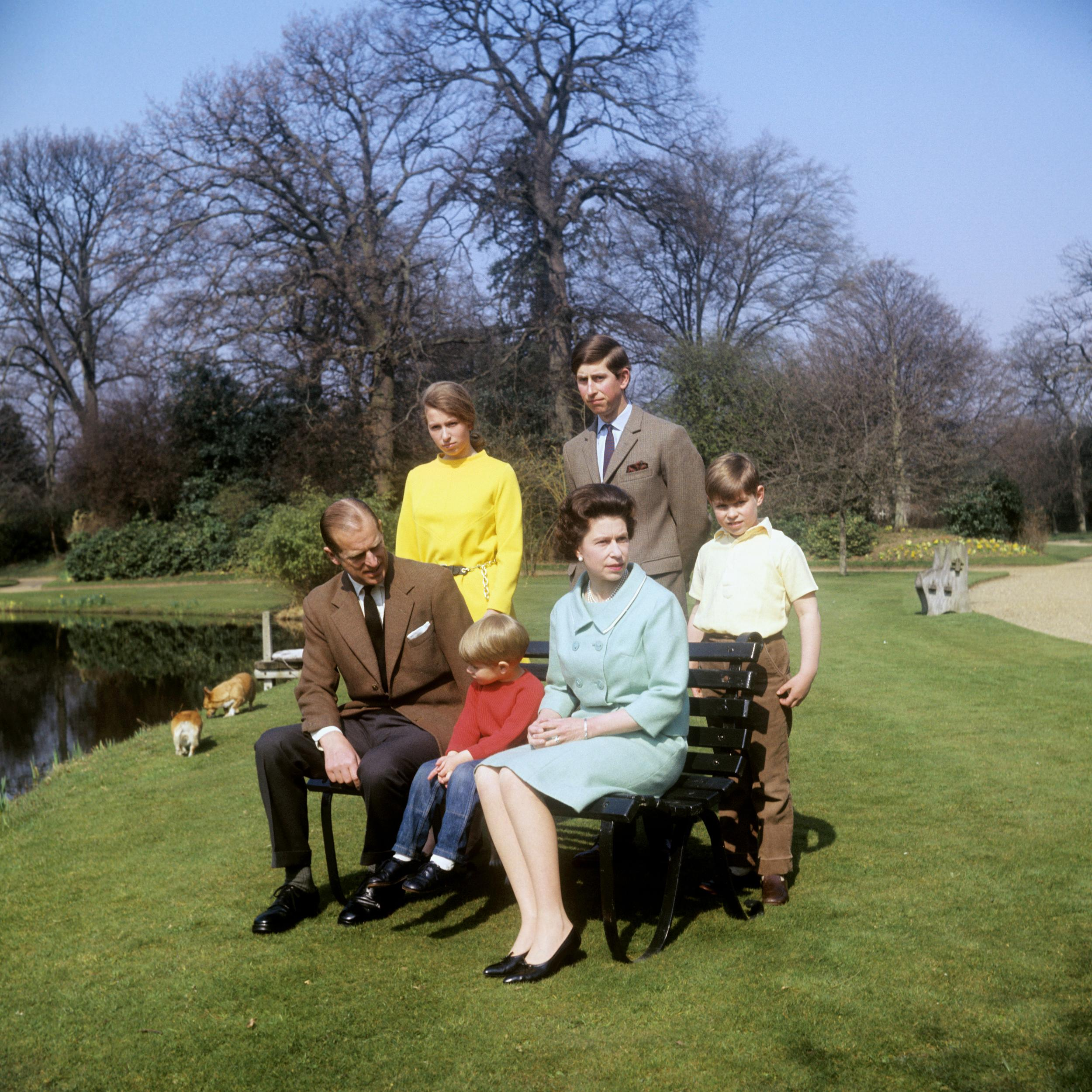 The Royal Family in the grounds of Frogmore House, Windsor, Berkshire. Left to right: Duke of Edinburgh, Princess Anne, Prince Edward, Queen Elizabeth II, Prince Charles and Prince Andrew.