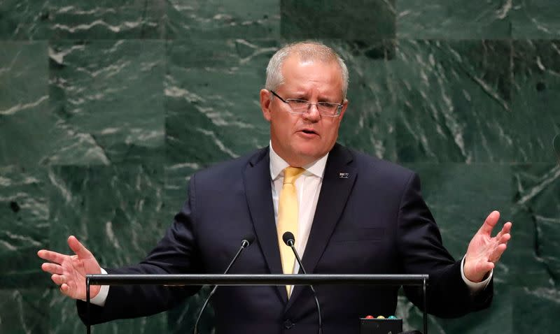 Australian Prime Minister Scott Morrison addresses the 74th session of the United Nations General Assembly at U.N. headquarters in New York City, New York, U.S.
