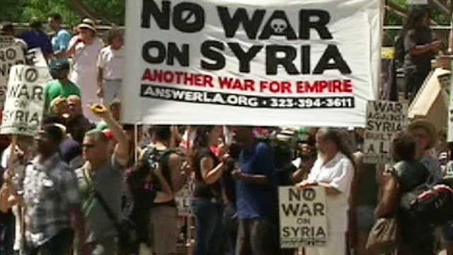 Protests breakout over plans to strike Syria