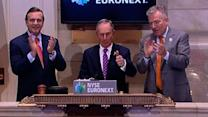 Raw: Bloomberg rings opening bell at NYSE