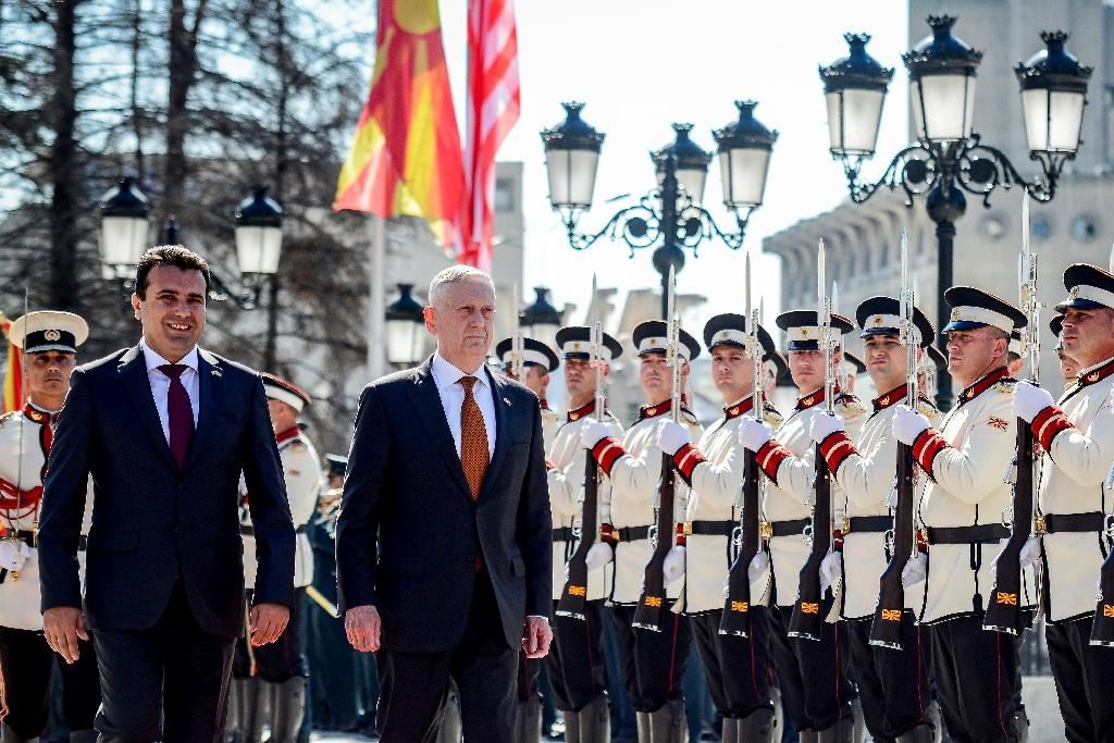Macedonia's Prime Minister Zoran Zaev, seen on the left, welcomed US Defence Secretary James Mattis when he touched down in Skopje (AFP Photo/Tomislav GEORGIEV)