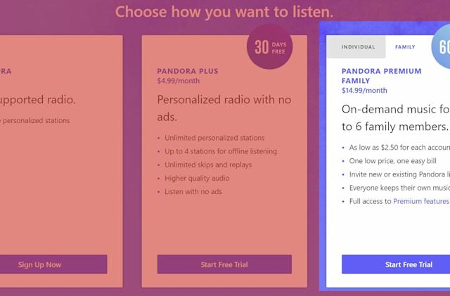Pandora unveils a $15-a-month unlimited family plan