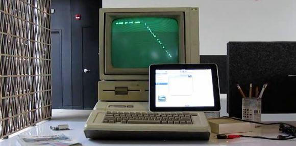 Apple //e running source code loaded from an iPad