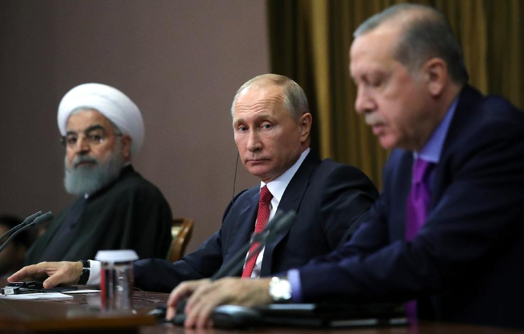 Russian President Vladimir Putin, Turkish President Recep Tayyip Erdogan and Iranian President Hassan Rouhani held their first trilateral meeting on Syria in Sochi last November