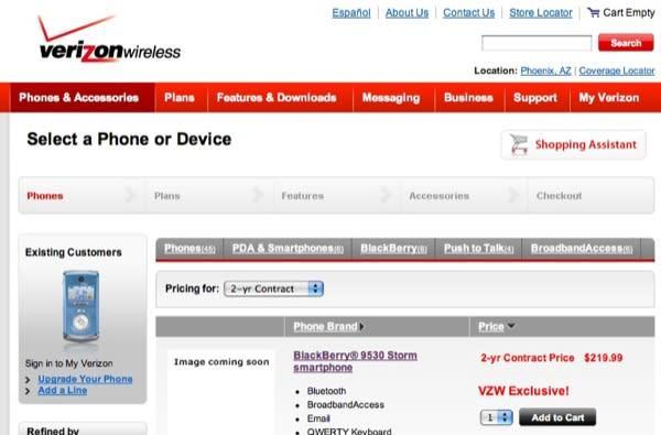 BlackBerry 9530 Storm pricing revealed on VZW staging server