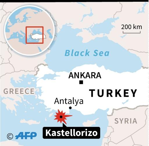 Map showing the location in the Mediterranean off the Turkish coast where many people drowned after the speedboat they were in sank (AFP Photo/AFP )