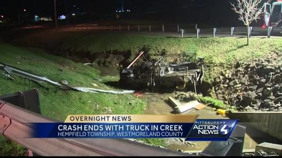 Hempfield Township crash ends with truck in creek