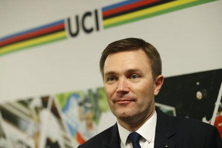 David Lappartient, newly elected President of the UCI, attends a news conference in Bergen