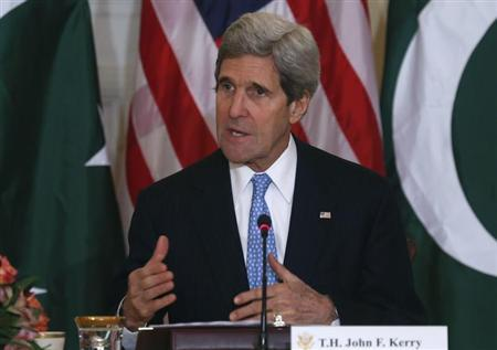 U.S. Secretary of State John Kerry delivers opening remarks at a U.S.-Pakistan ministerial-level meeting at the State Department in Washington